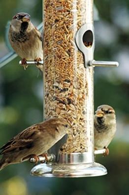 dobar 11520 Großer Futterspender mit Vier Futterplätzen für Vögel, XL Futterstation-Futtersäule für Wildvögel